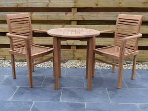 2 Seater Round Bistro Teak Set with Newbury Stacking Armchairs