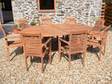 8 Seater Round Double Extending Teak Set with Newbury Stacking Armchairs