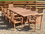 10 Seater Rectangular Double Extending Teak Set with Newbury Stacking Armchairs