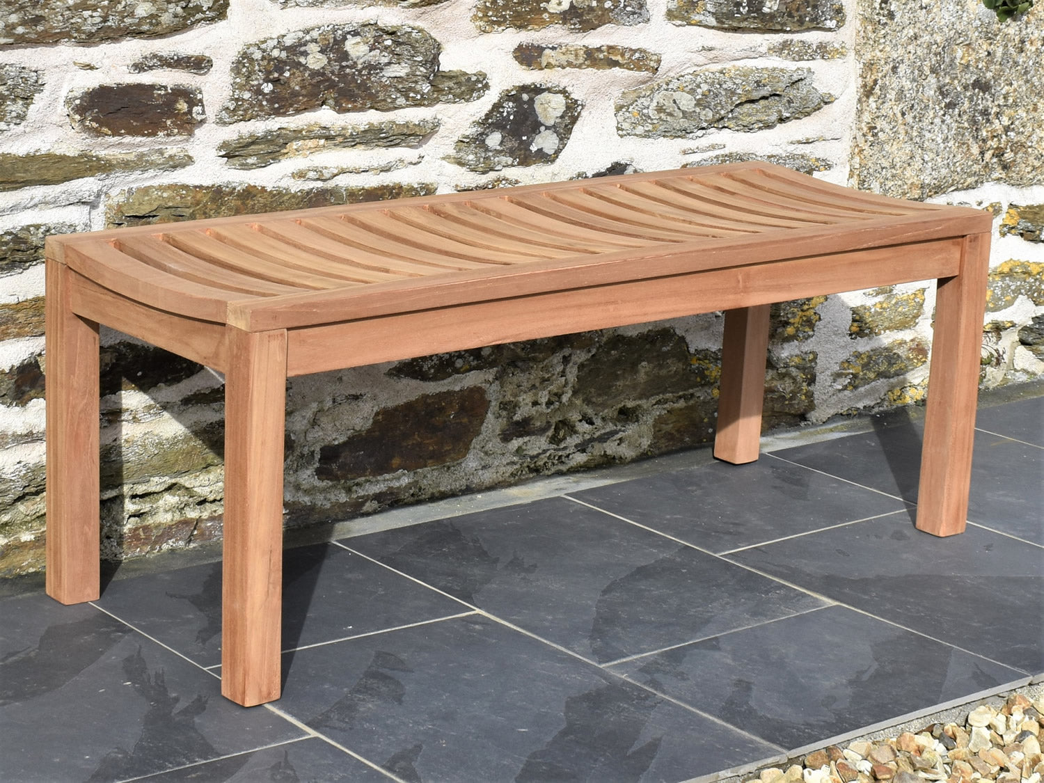 Picture of: Backless 2 Seater Teak Garden Bench 4ft 120cm Patio Garden Furniture
