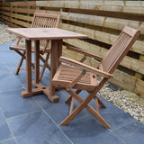 2 Seater Square Pedestal Teak Set with Folding Armchairs