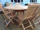 6 Seater Oval Pedestal Teak Set with Folding Chairs & Armchairs