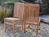 6 Seater Rectangular Pedestal Teak Set with Dining Chairs & Stacking Armchairs