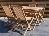 4 Seater Rectangular Folding Teak Set with Classic Folding Chairs