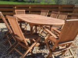 10 Seater Oval Extending Teak Set with Classic Folding Chairs & Armchairs