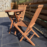2 Seater Octagonal Folding Teak Set with Classic Folding Chairs