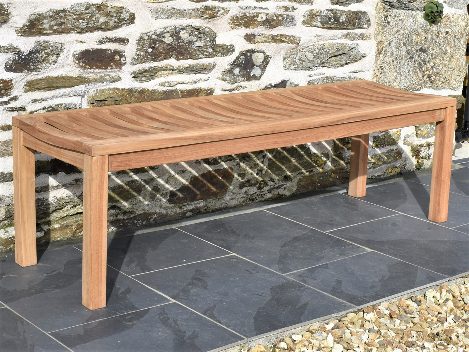Picture of: Backless 3 Seater Teak Garden Bench 5ft 150cm Patio Garden Furniture