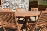 10 Seater Round Double Extending Teak Set with Folding Chairs