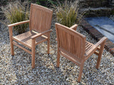 6 Seater Oval Pedestal Teak Set with Dining Chairs & Stacking Armchairs