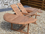 8 Seater Round Double Extending Teak Set with Henley Stacking Armchairs