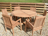 6 Seater Round Pedestal Teak Set with Henley Stacking Armchairs