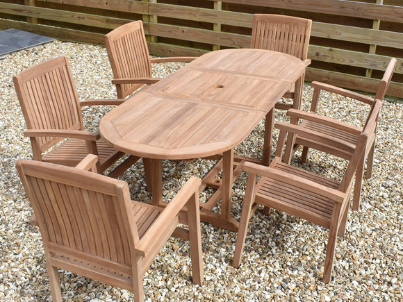 6 Seater Oval Extending Teak Set with Stacking Armchairs