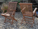 2 Seater Square Folding Teak Set with Classic Folding Armchairs