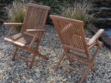 4 Seater Round Folding Teak Set with Classic Folding Chairs & Armchairs