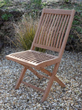 4 Seater Small Round Folding Teak Set with Folding Chairs & Armchairs
