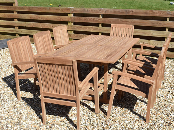 8 Seater Rectangular Pedestal Teak Set with Henley Stacking Armchairs