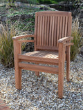2 Seater Round Bistro Teak Set with Henley Stacking Armchairs