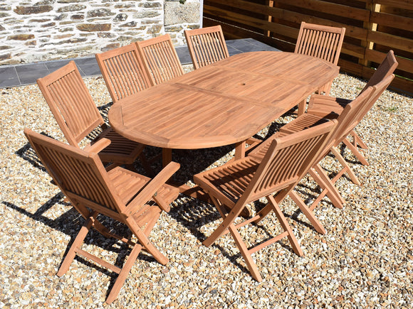10 Seater Oval Extending Teak Set with Folding Chairs & Armchairs