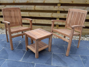2 Seater Square Coffee Table Teak Set with Stacking Armchairs