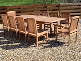 10 Seater Rectangular Extending Teak Set with Dining Chairs & Stacking Armchairs