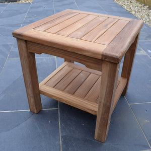 Teak 45cm Square Coffee Table with Shelf