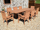 8 Seater Rectangular Extending Teak Set with Stacking Armchairs