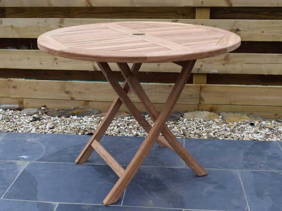 Teak 100cm Round Folding Table