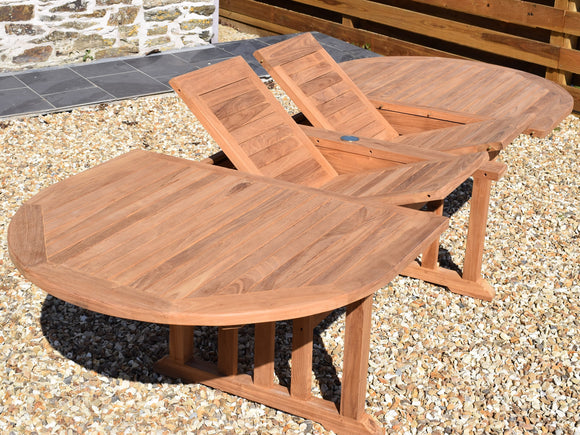 Teak 190-270x110cm Oval Double-Extending Table