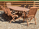 10 Seater Oval Double Extending Teak Set with Folding Armchairs and Recliners