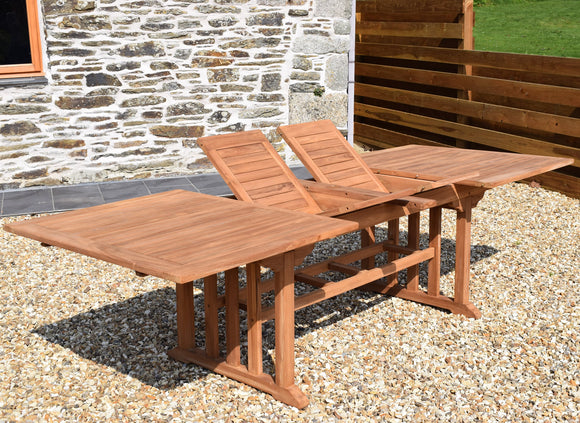 Teak 190-270x110cm Rectangular Double-Extending Table