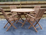 Teak 120cm Round Folding Table