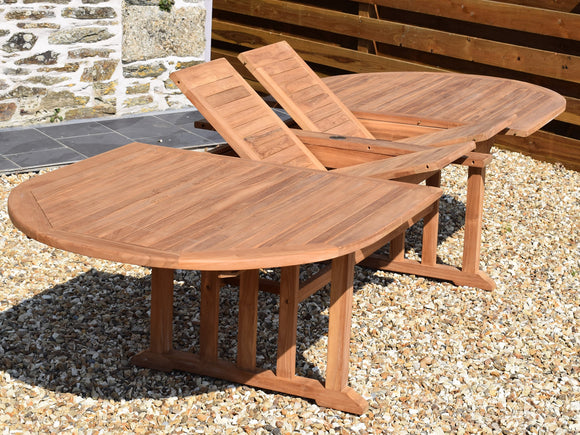 Teak 240-320x120cm Oval Double-Extending Table