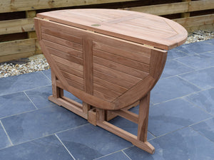 Teak 120cm Round Gate-leg Folding Table