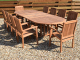 10 Seater Oval Double Extending Teak Set with Stacking Armchairs