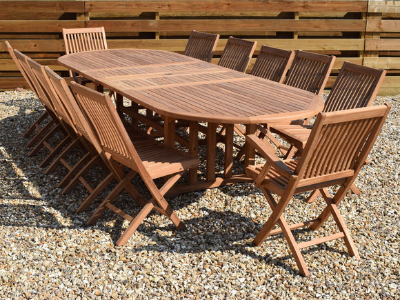 12 Seater Oval Double Extending Teak Set with Folding Chairs & Armchairs