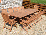 12 Seater Rectangular Double Extending Teak Set with Folding Armchairs & Recliners