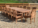 12 Seater Rectangular Double Extending Teak Set with Newbury Stacking Armchairs