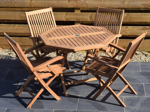 4 Seater Octagonal Folding Teak Set with Folding Armchairs