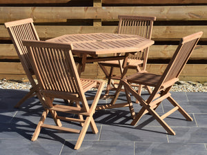 4 Seater Octagonal Folding Teak Set with Classic Folding Chairs