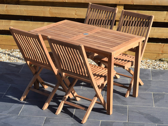 4 Seater Rectangular Bistro Teak Set with Folding Chairs