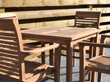 4 Seater Square Bistro Teak Set with Newbury Stacking Armchairs