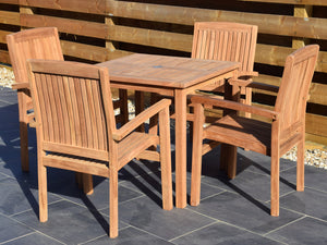 4 Seater Square Bistro Set with Henley Stacking Armchairs