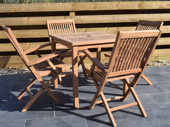 4 Seater Square Bistro Teak Set with Folding Armchairs