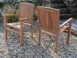 12 Seater Rectangular Double Extending Teak Set with Dining Chairs & Stacking Armchairs