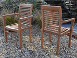 SALE - 2 Seater Small Round Pedestal Teak Set with Stacking Armchairs