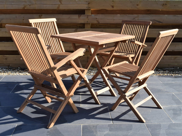 4 Seater Square Folding Teak Set with Folding Chairs and Armchairs