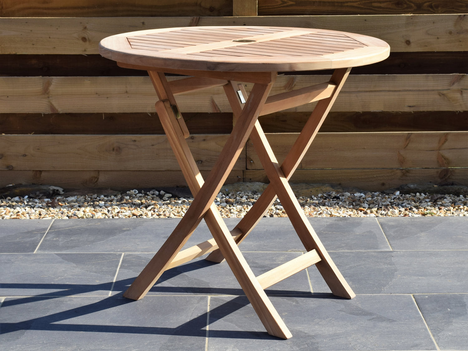 Teak 8cm Round Folding Table – Patio Garden Furniture