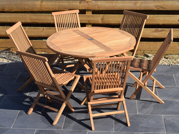 6 Seater Large Round Folding Teak Set with Classic Folding Chairs