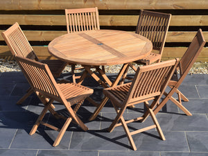 6 Seater Round Folding Teak Set with Folding Chairs
