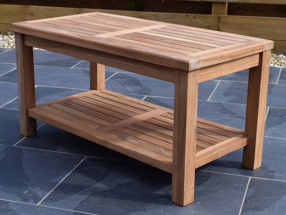 Teak 90x45cm Rectangular Coffee Table with Shelf